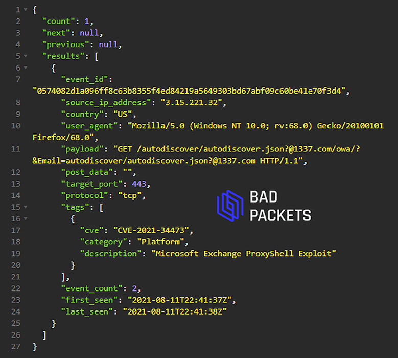 Bad Packets detecting a ProxyShell scan