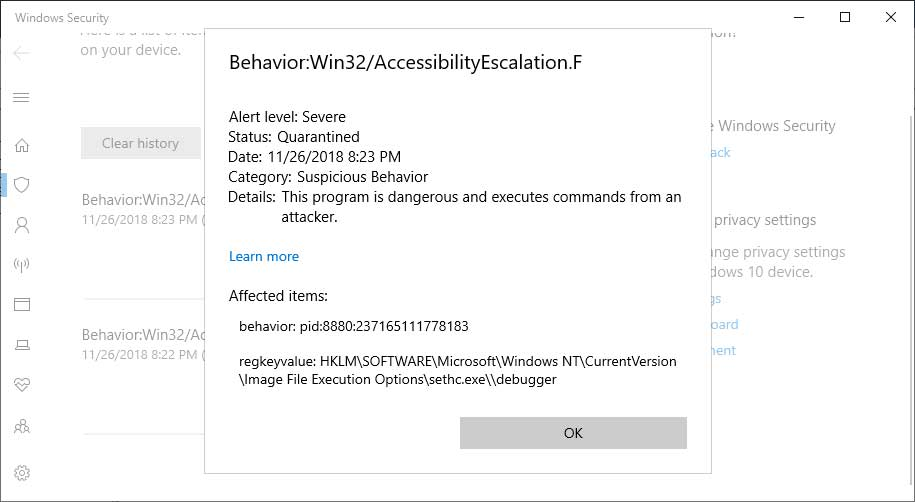 Windows Defender Can Detect Accessibility Tool Backdoors