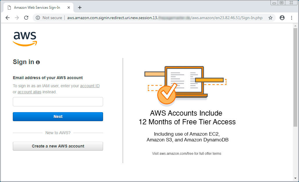 Fake Amazon AWS Account Login