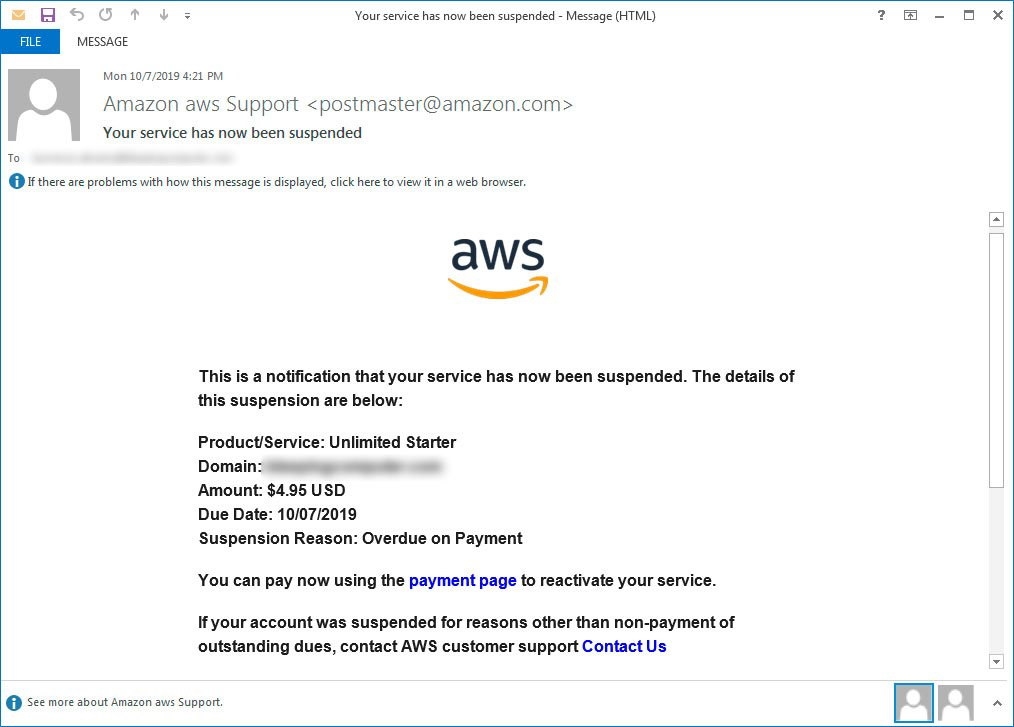 Fake Amazon AWS Suspension Notice