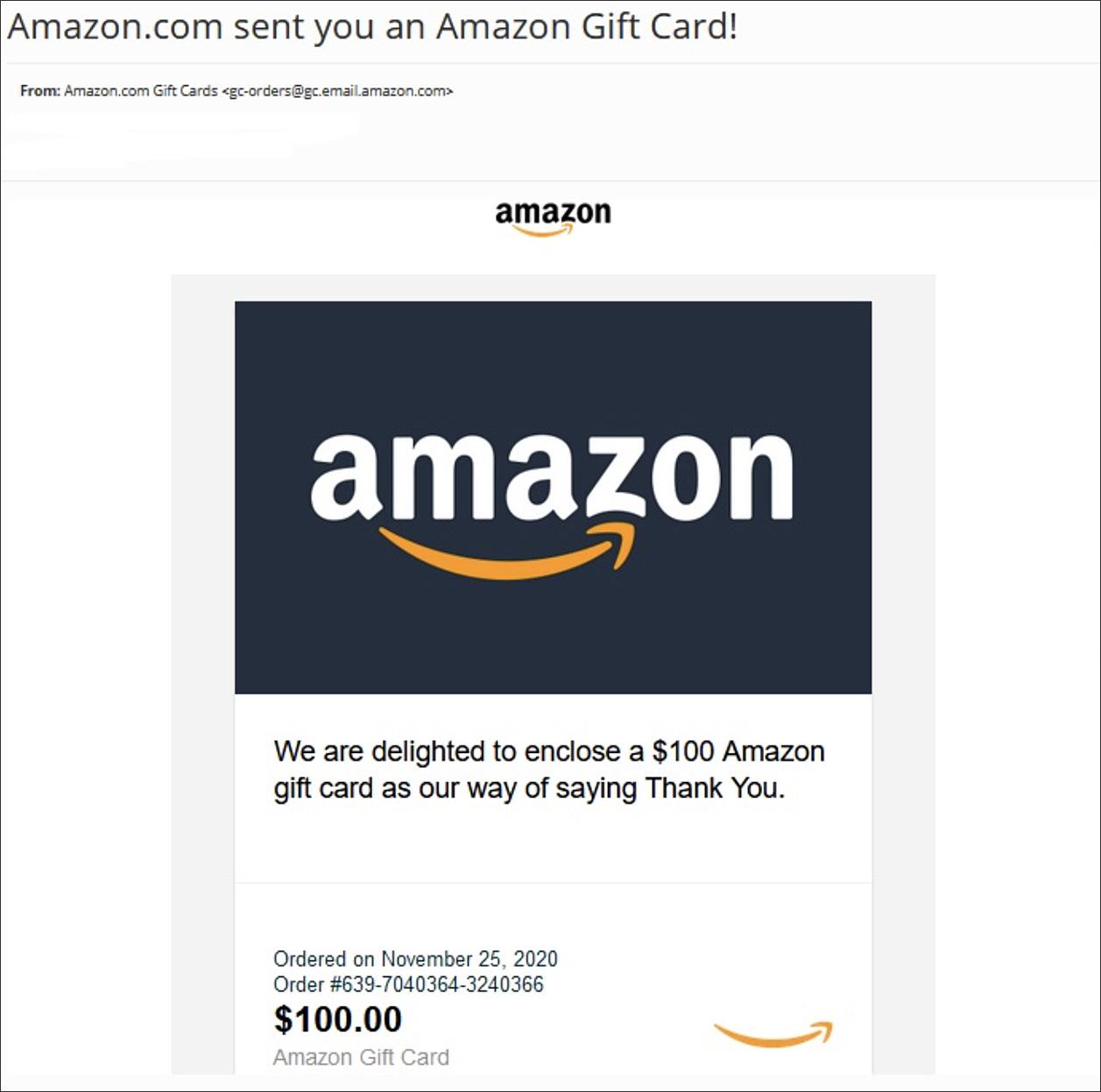 网络钓鱼电子邮件以亚马逊礼品卡的形式出现,并传递Dridex恶意软件