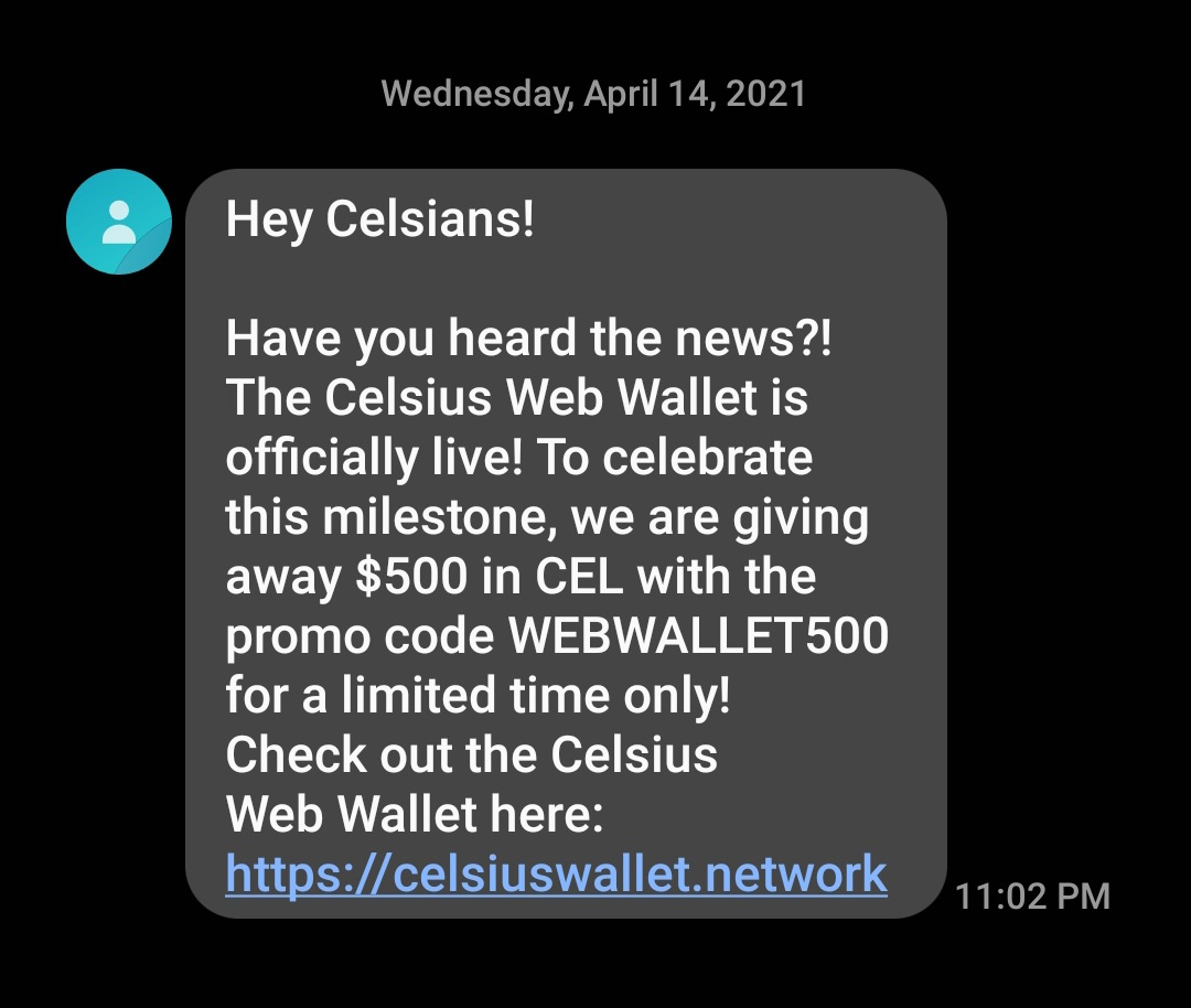 Celsius phishing text message
