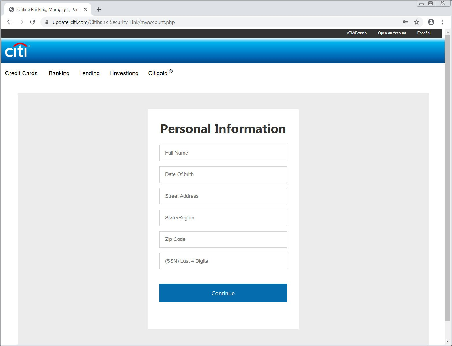 Requesting personal information