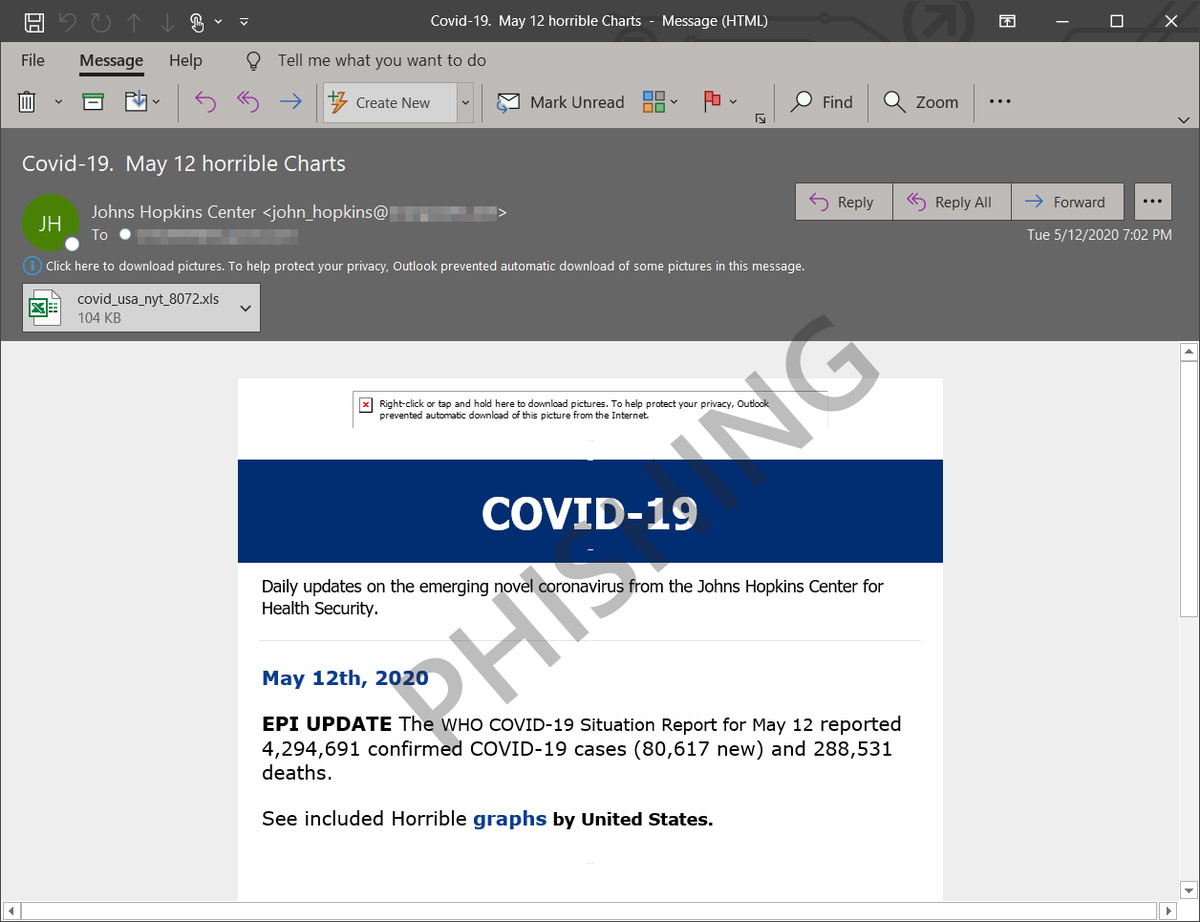 Malicious COVID-19 themed email