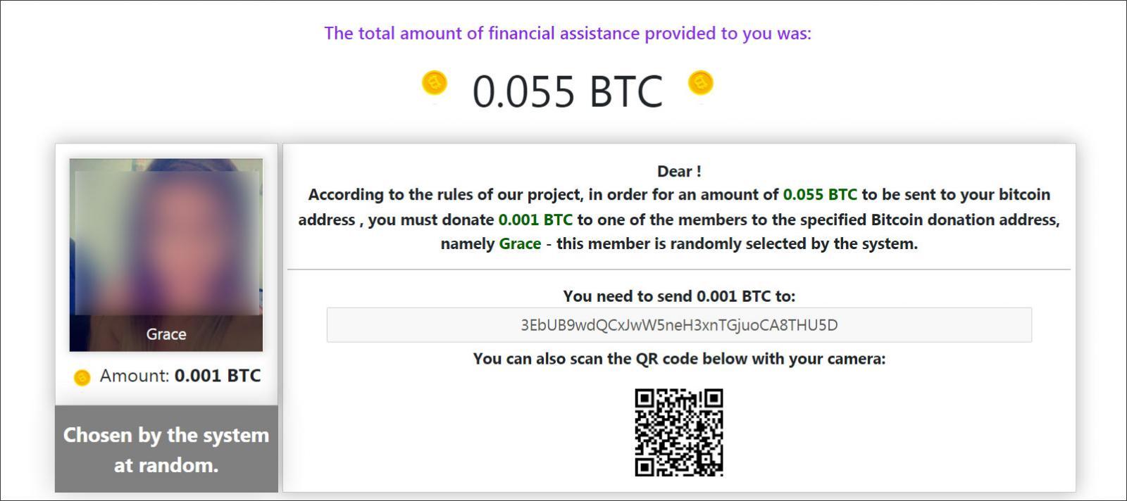 Sitio de estafa que pide a las víctimas que envíen 0.001 bitcoins