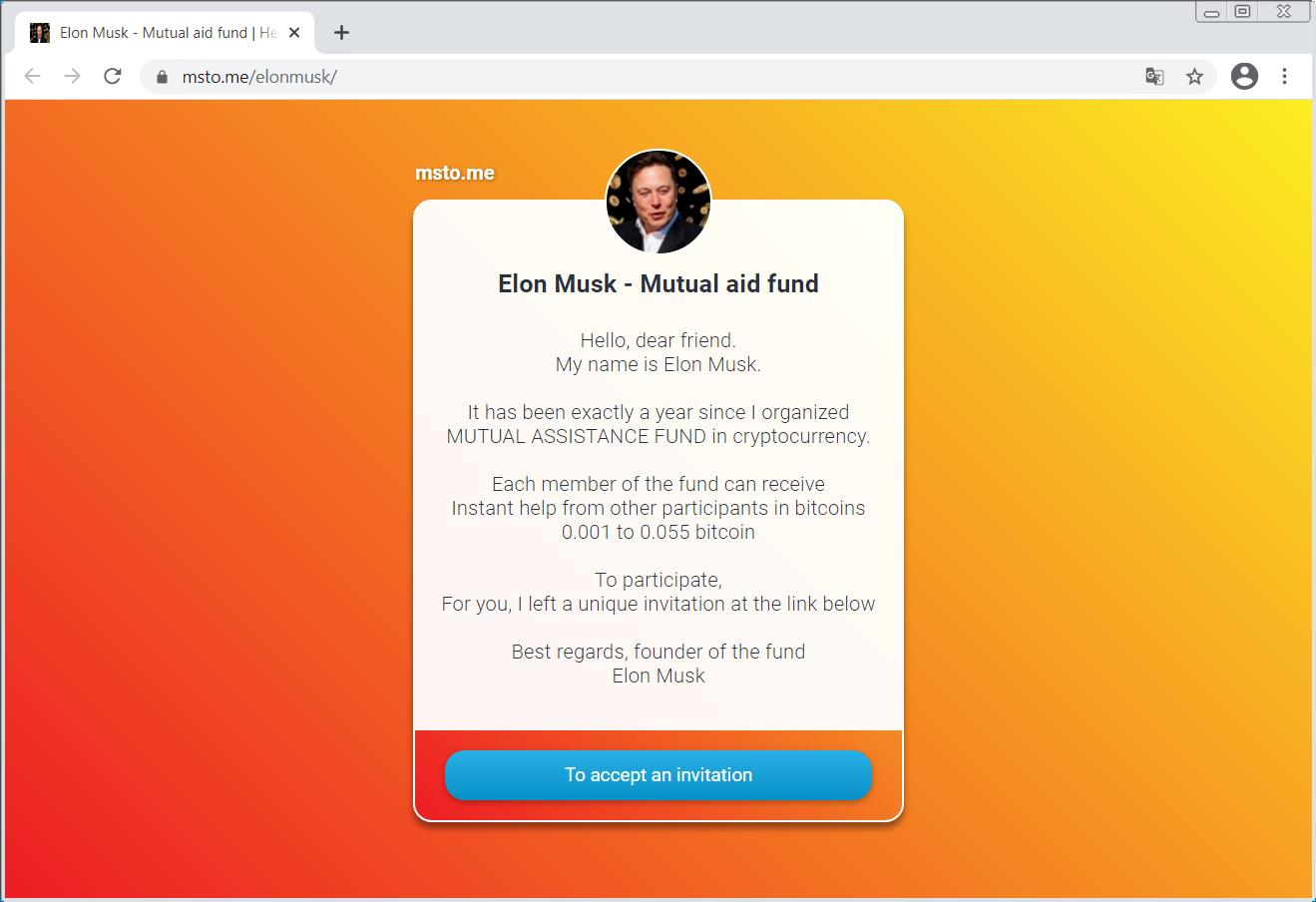 Elon Musk - Sitio de fraude de fondos mutuos
