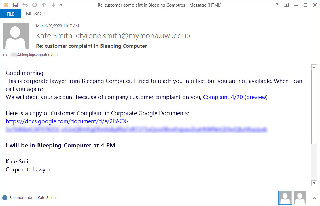 Fake customer complaint phishing emails