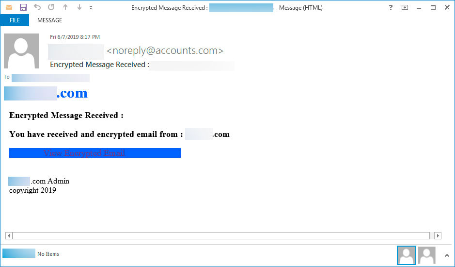 Encrypted Message Phishing Email
