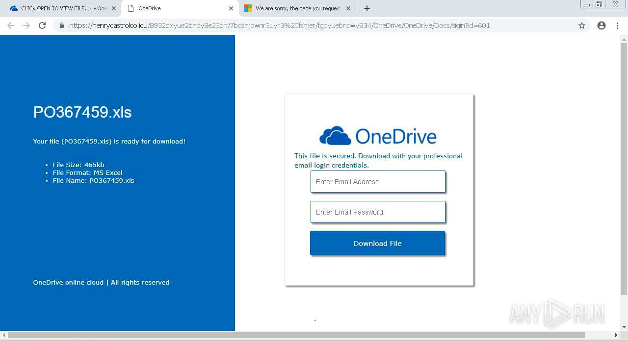 Email Account Phishing Page