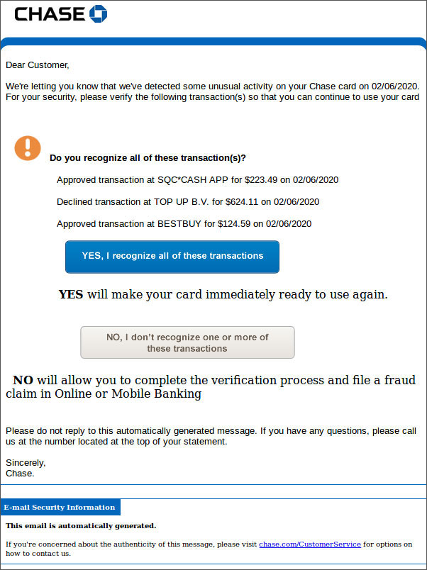Amex Chase Fraud Protection Emails Used As Clever Phishing Lure