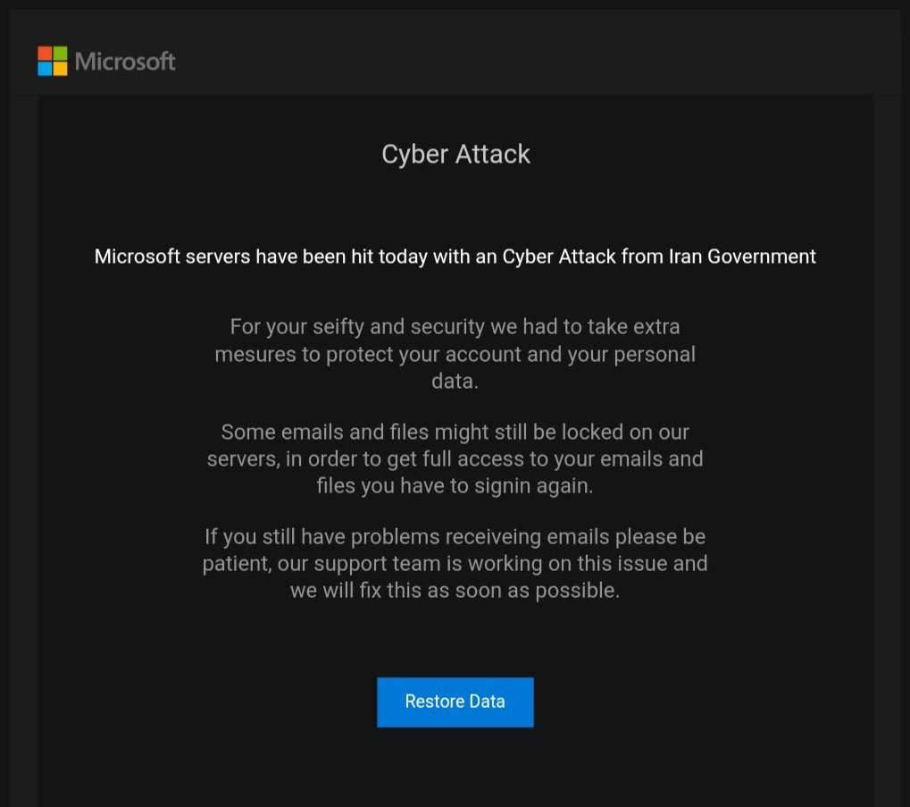 Phishing email about Iranian cyberattack on Microsoft Servers