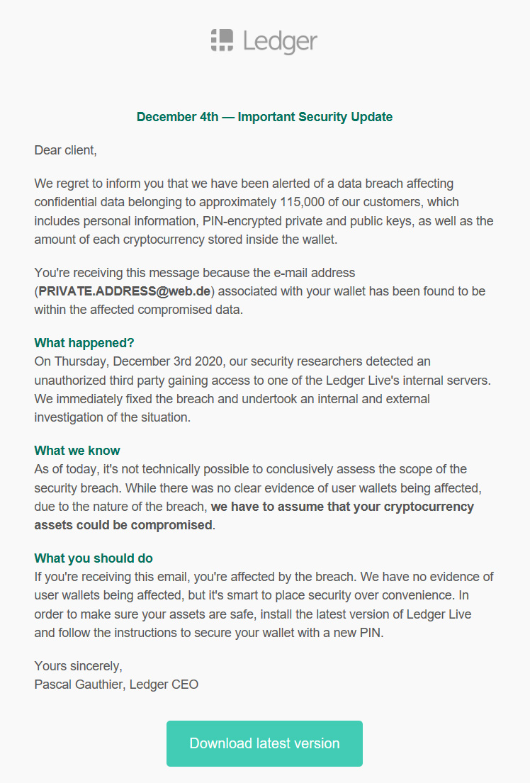Ledger phishing email about a data breach