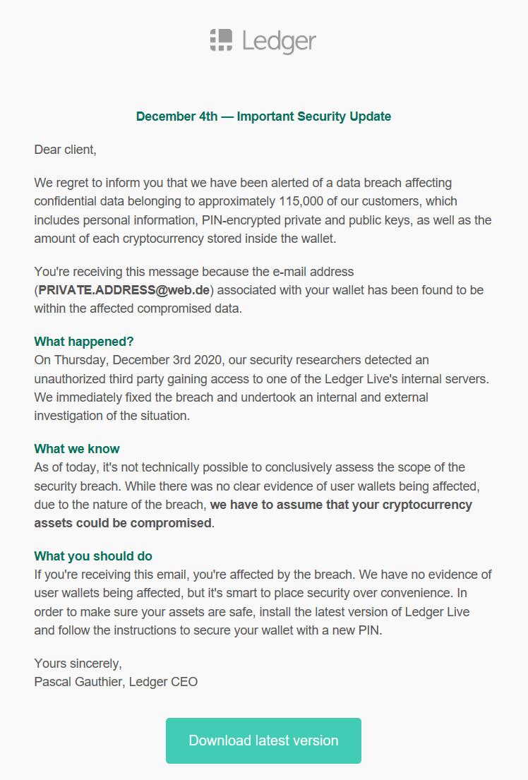 Correo electrónico de phishing de Ledger sobre una violación de datos