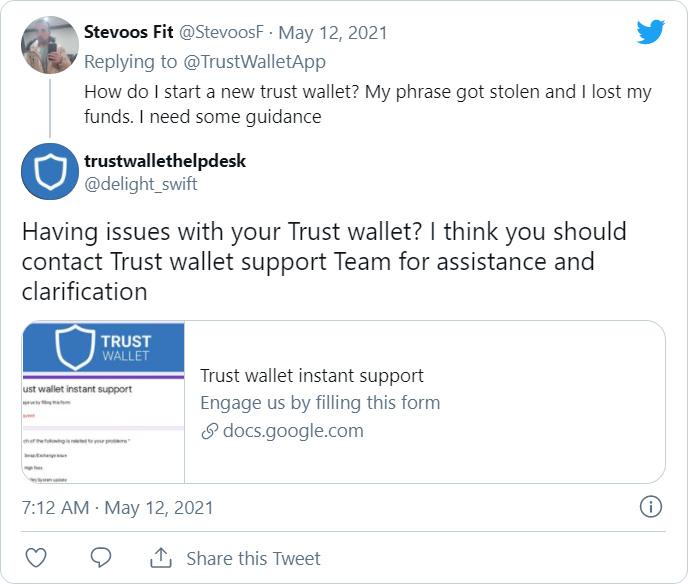 Twitter Trust Walletphishing scam