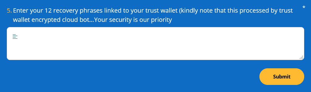 Fake support form asking for a Trust Wallet recovery phrase
