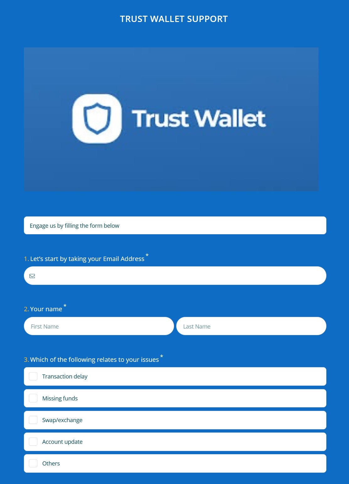 Fake Trust Wallet support form