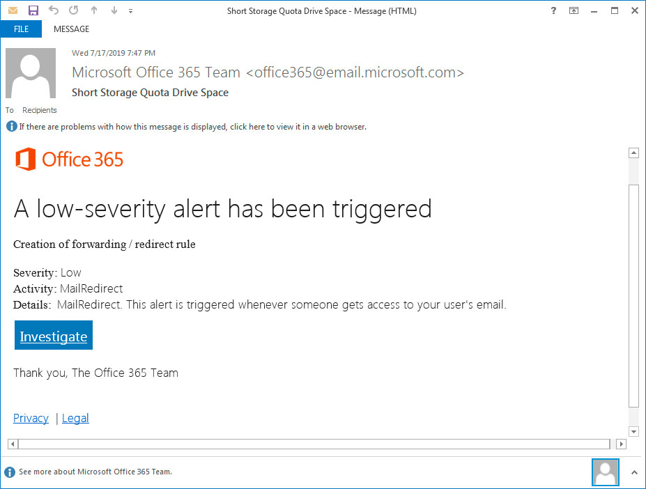 Phishing Email showing a fake admin alert for Office 365
