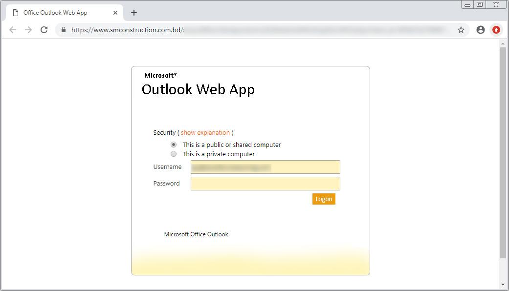 Phishing Scam Landing Page