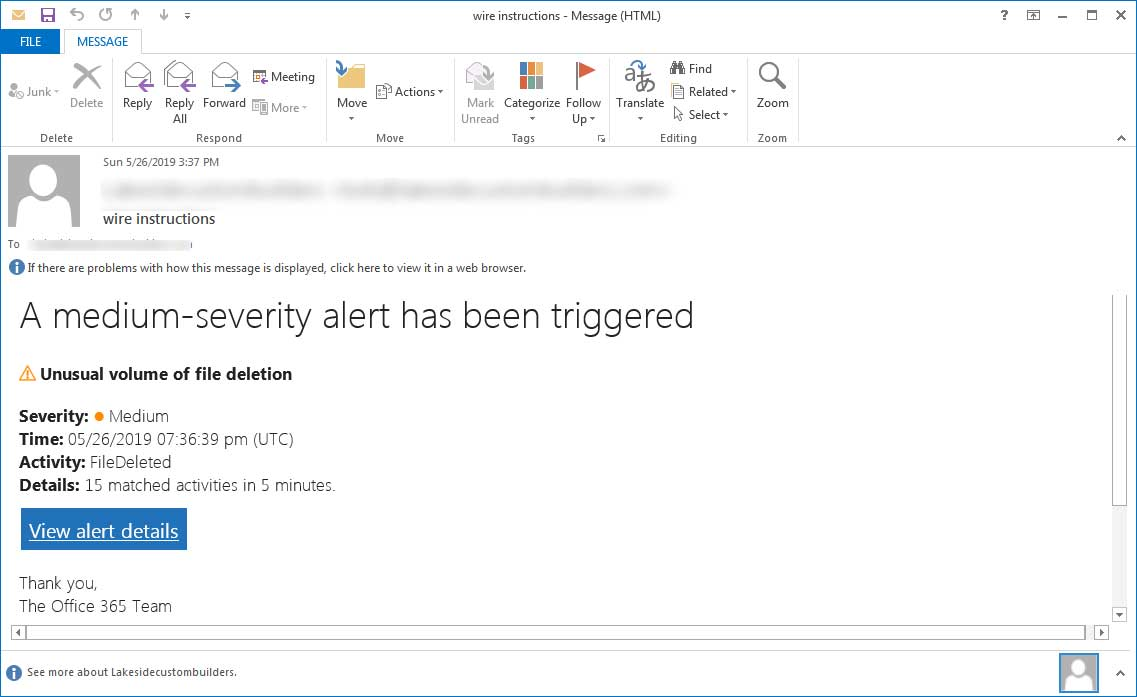 Phishing Emails Pretend to be Office 365 'File Deletion' Alerts