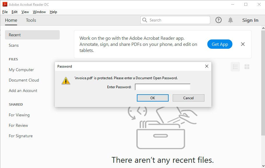 Legitimate password prompt in a protected PDF