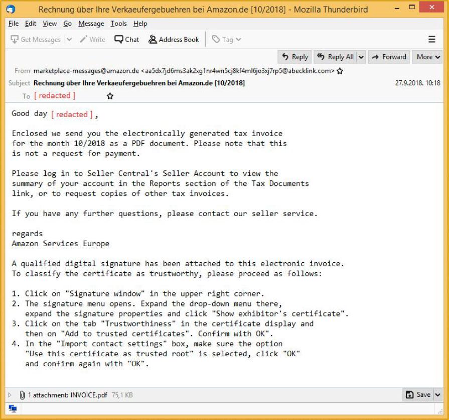 Translated Phishing Email