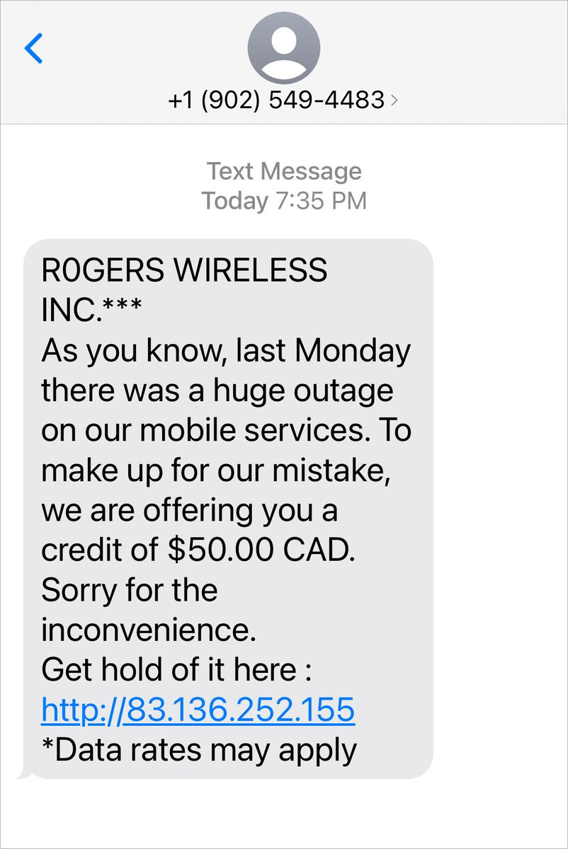 Rogers smishing scam about outage refunds