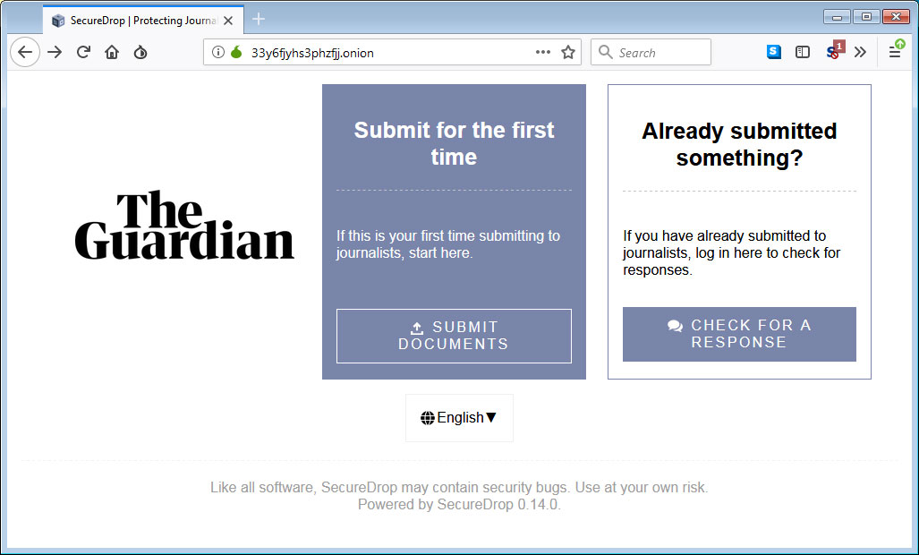 Real The Guardian SecureDrop Site