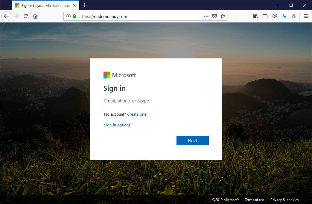 Microsoft Phishing Page Sends Stolen Logins Using JavaScript