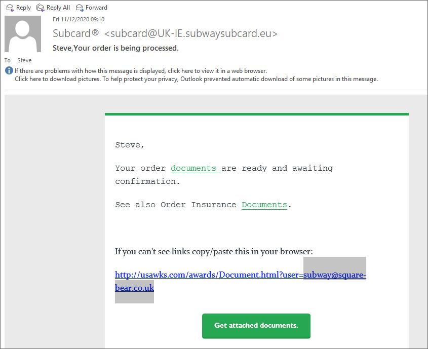 Correo electrónico de phishing de Subway UK