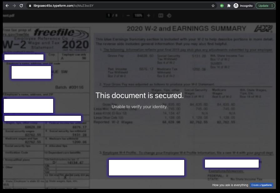 Final phishing form