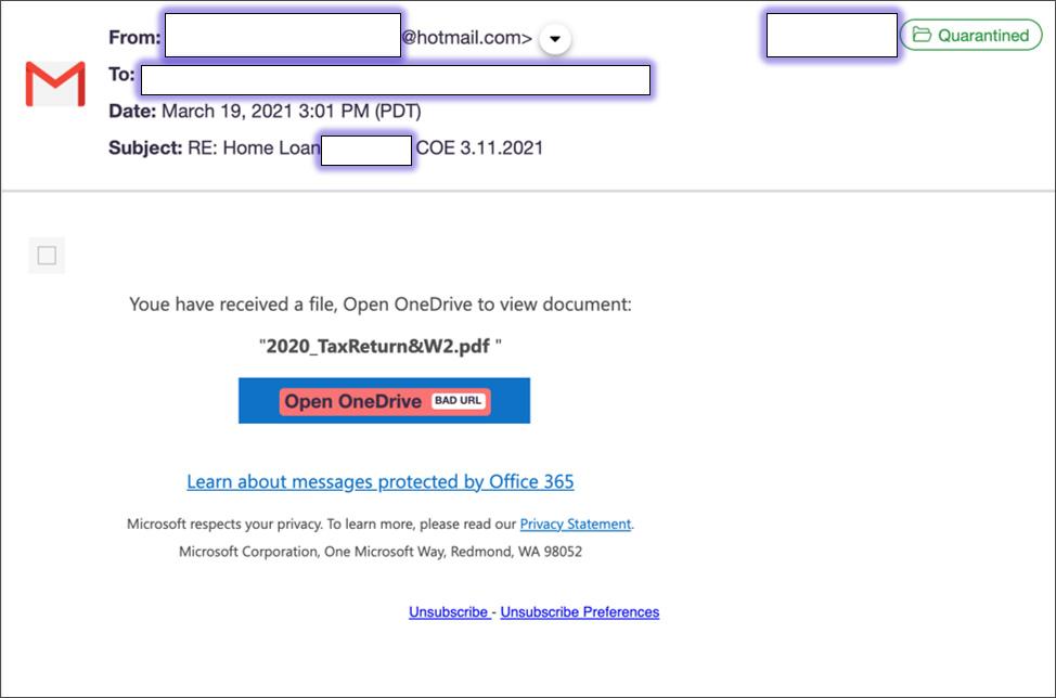 W2 tax form phishing email