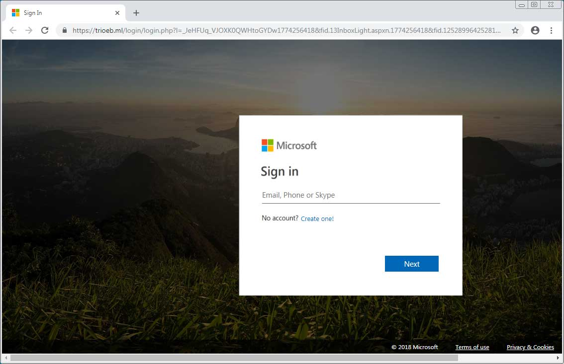 microsoft account password reset phishing