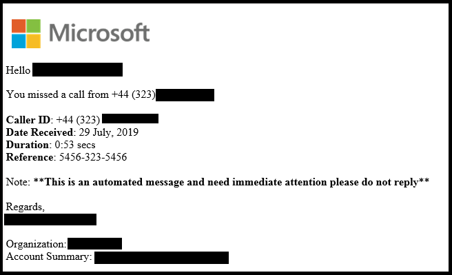 Microsoft Office 365 Voicemail Phishing Email