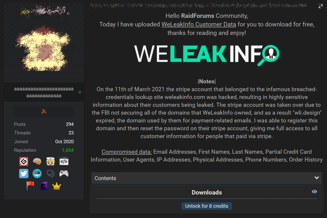Forum post leaking WeLeakInfo data