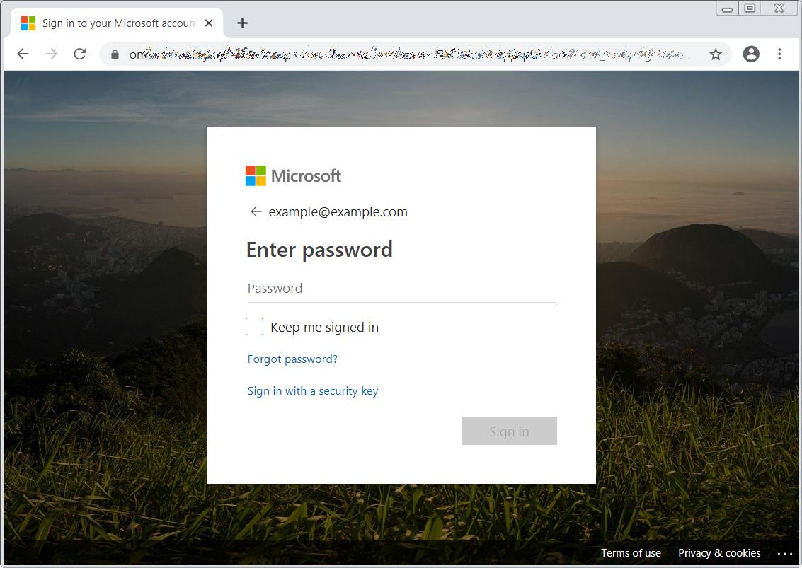 Microsoft login phishing page