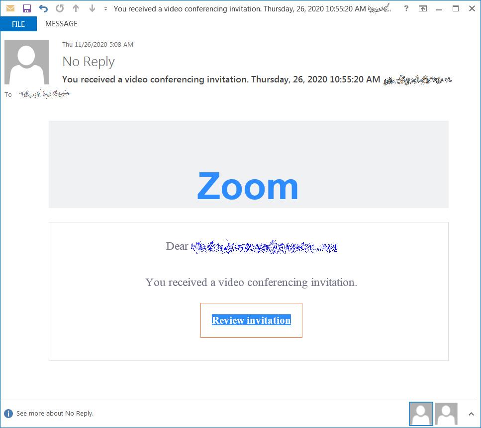 Phishing email pretending to be Zoom invite