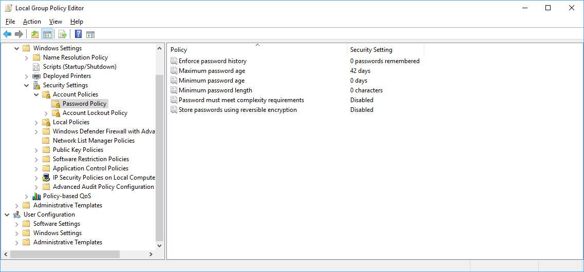 Account Password Policies