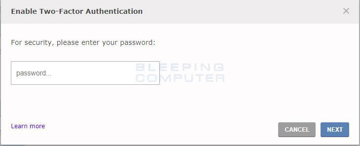 Enter 2FA Password