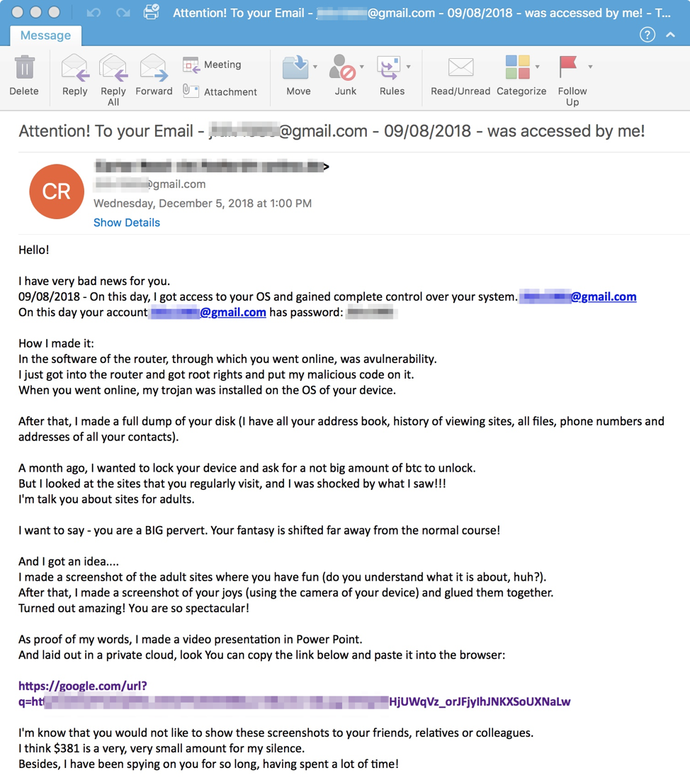 Sextortion Emails now Leading to Ransomware and Info
