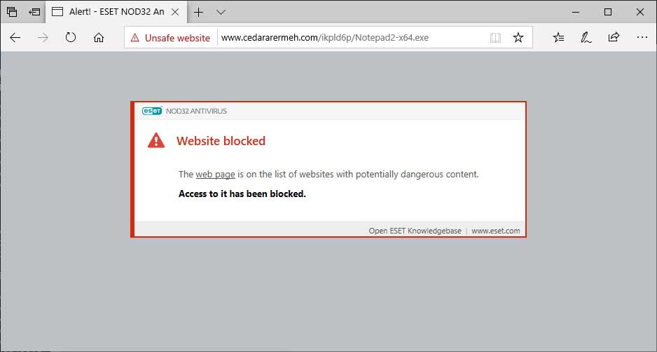 ESET Blocked Download