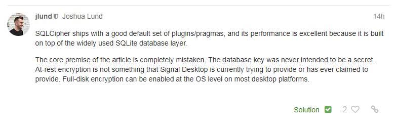 Signal Desktop Leaves Message Decryption Key in Plain Sight