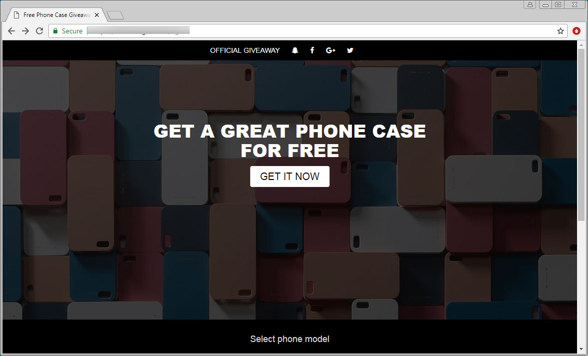 Scam site promoting free phone cases