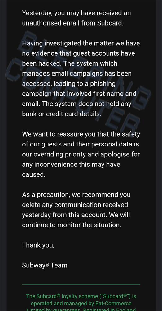 Divulgación por correo electrónico de Subway UK sobre ataques