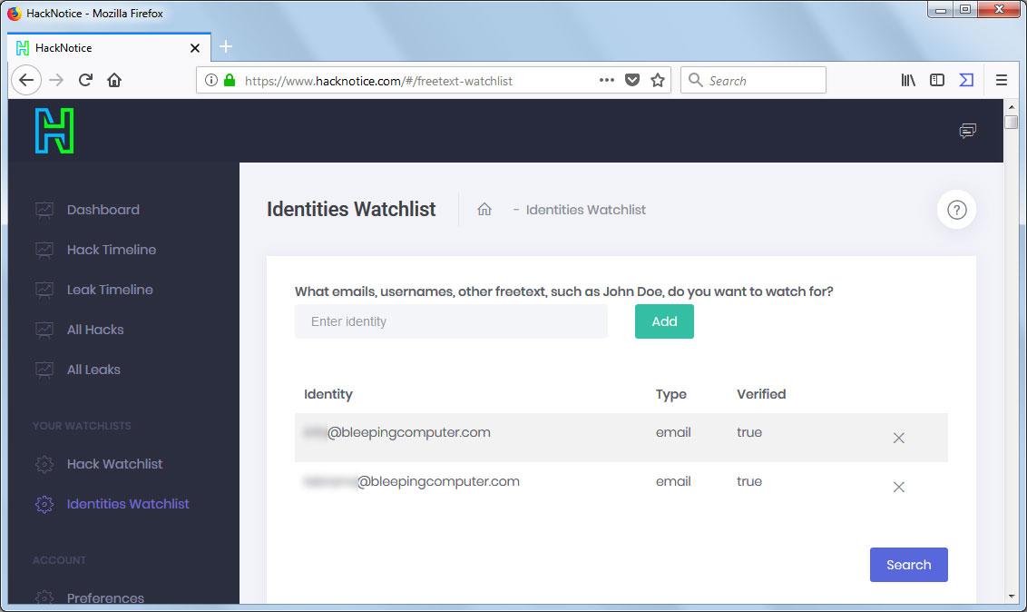 HackNotice Identities Watchlist