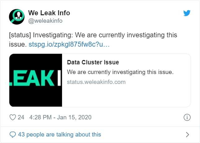 Tweet from We Leak Info