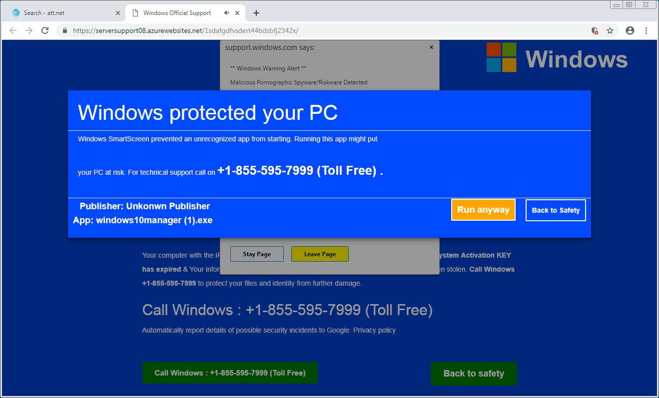 Windows protected your PC tech support scam