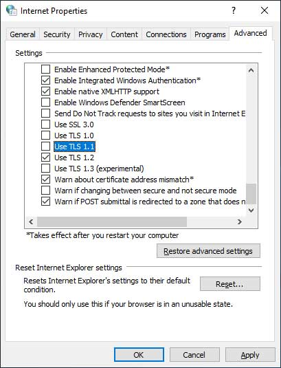 Disable TLS 1.0 and 1.1 Options