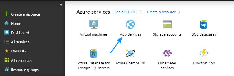 App Services in the Azure Portal